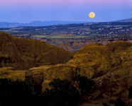 Moon rise over canyon lands